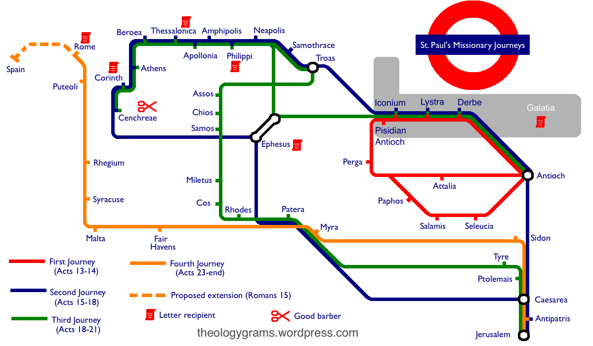 St. Paul's Missionary Journeys - Tube Map